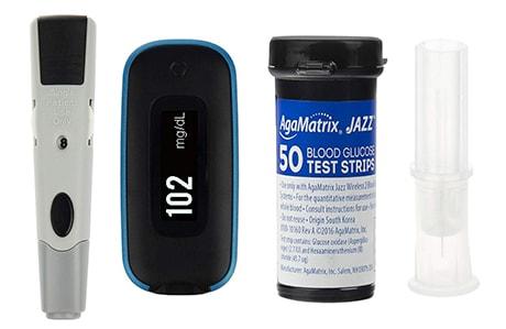 دستگاه تست قند خون آگاماتریکس مدل AgaMatrix Jazz Wireless 2 به همراه نوار مجموعه 4 عددی و سوزن مجموعه 2 عددی