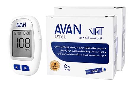 دستگاه تست قند خون آوان مدل AGM01 به همراه 100 عدد نوار تست